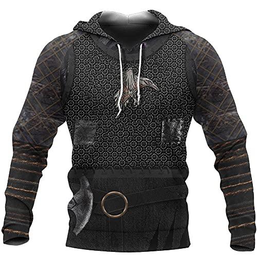 LRKZ Viking Raven 3D-Druck Hoodie Retro Tattoo Nordische Mythologie Crow Mens,Black a,XXXXXXX