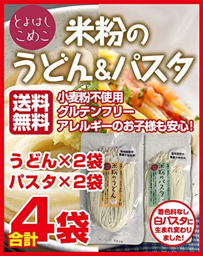 とよはしこめこ 米粉のうどん(2袋)&パスタ(2袋) セット グルテンフリー・小麦粉フリー・アルミフリー 128g×4袋