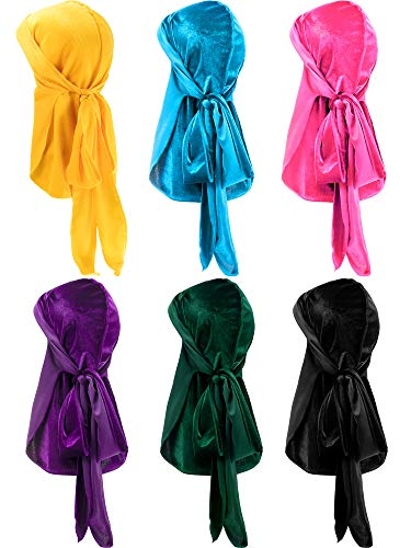 6 Pieces Stretchable Luxury Velvet Durag Cap Straps Headwraps with Long Tail and Wide Straps (Yellow, Light Blue, Pink, Purple, Green, Black)