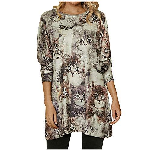 Timita Damenmode Katzenmuster gedruckt Langarm Sweatshirt mit Rundhalsausschnitt...