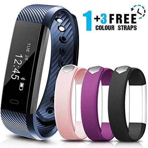 AIMIUVEI Fitness Tracker Smartwatch Orologio Fitness con 3 Cinturini Colorati, Monitoraggio del Sonno, Pedometro da Polso, Braccialetto Fitness Donna/Uomo per iPhone Samsung Huawei Android iOS.