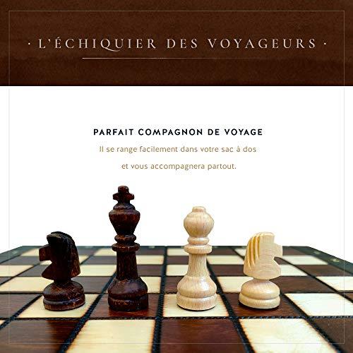 KHAPLO ® - Holzschachspiel de Luxe - faltbares Schachbrett - Schachspiel - Handgefertigt schach - Schachspiel holz hochwertig - 27 x 27 cm - Babylon - Braun