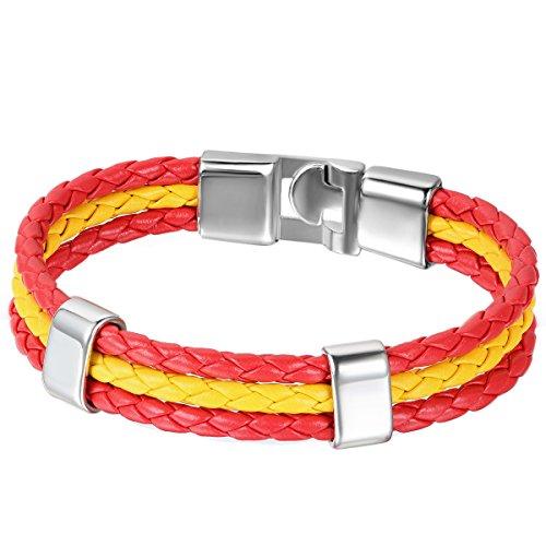 JewelryWe Schmuck Armband, Spanien Spanisch Flagge Armreif, Leder Legierung, für Herren Damen, Rot Gelb
