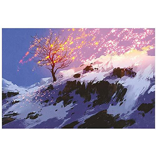 JHDF Paysage d'hiver Fantastique Contes de fées Arbre de Vie et Tapis de Bain de Neige Tapis d'entrée antidérapant Paillasson Tapis de Bain 40 * 60CM Accessoires de Salle de Bain (Multi3)