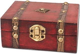 NszzJixo9 Jewelry Box Vintage Wood Handmade with Mini Metal Lock for Storing Treasure Pearl, Vintage Wooden Case Decorative Trinket Storage Old Style