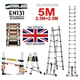 5M Telescopic Ladder (2.5M+2.5M) A-Frame & Straight Extension Folding Aluminium Ladder Heavy Duty Safety Locking Multi-Purpose Multi-Function Ladder Max Load 150KG