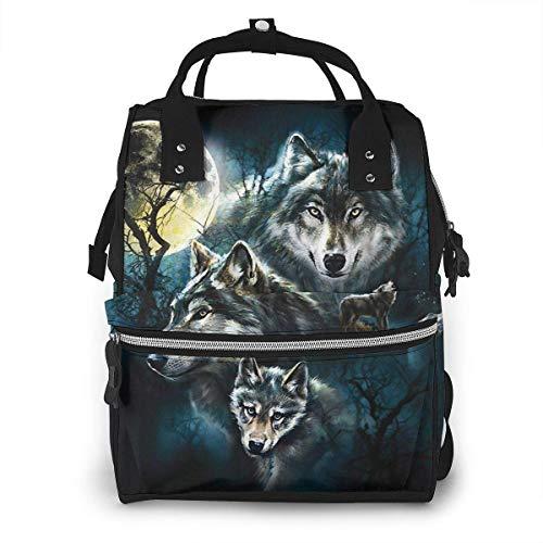 4 wolven wolf familie volle maan nacht grote capaciteit multifunctionele mama rugzak grote capaciteit landscap licht baby luier zakken