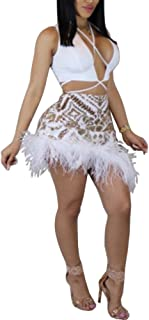 Women Sexy Clubwear 2 Piece Sets Outfits Sequin Plunge V Neck Crop Tops Feather Mini Dress Skirt