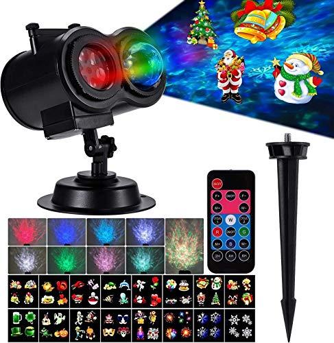 ZJJZ Luces de proyector navideñas, 2 en 1, proyector de luz oceánica Ondulada, 16 Diapositivas, 10 Colores de Onda, Paisaje, decoración de jardín, proyector de iluminación LED con Control Remoto