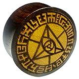 Chic-Net Flesh Plug occhio triangolare, bordo in legno di sono, frutto della giacca, dilatatore, dilatatore, unisex, marrone chiaro scuro e 12 mm, cod. HPT-528-12