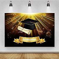 卒業テーマ写真の背景ベビーシャワーの写真の背景の肖像画ビニールの生地 背景 ZHUSJJS (Color : Gold2, Size : 10x20ft)