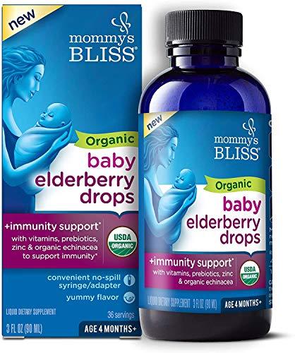 Mommy's Bliss Organic Baby Elderberry Drops Bottle Yummy Elderberry, 3 Fl Oz