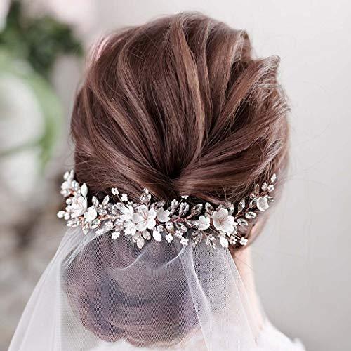 Unicra Sposa Capelli da sposa Vite Cristallo Fascia Copricapo Fiore Accessori per capelli da sposa per Donna (Argento)