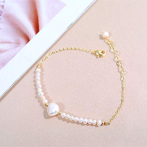 LXMYLI Pulsera De Perlas Naturales De Agua Dulce Pulseras De Perlas Naturales para Regalo De Mujer