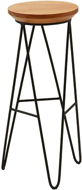 LYXPUZI Barhocker Solid Wood bar Stool   high Stool Nordic Wrought Iron bar Stool   Home bar Chair Retro bar Chair Frühstücksschemel (Size   45cm)