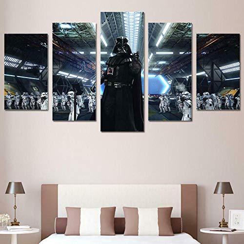 GSDFSD So Crazy Art - Película de Star Wars Darth Vader Decoracion De Pared 5 Piezas Modernos Mural Fotos para
