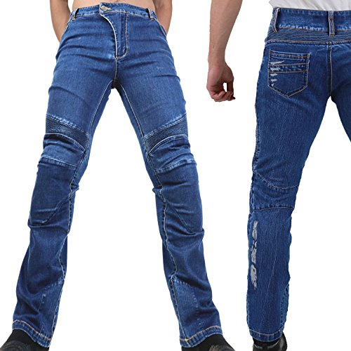 Motorradhose Jeans -Ranger- Leicht Dünn Herren Sommer Textil Jeanshose Slim Fit Motorrad Textilhose Männer Eng Stretch - blau - S
