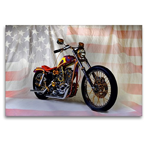 CALVENDO Premium Textil-Leinwand 120 x 80 cm Quer-Format Harley Classic Chopper, Leinwanddruck von Ingo Laue