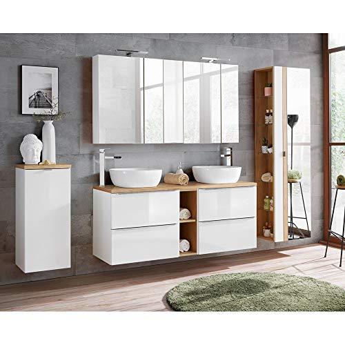 Lomadox Badmöbelset Hochglanz weiß & Wotaneiche, mit Doppel-Waschtisch inkl. 2 Aufsatzwaschbecken inkl. LED-Spiegelschrank