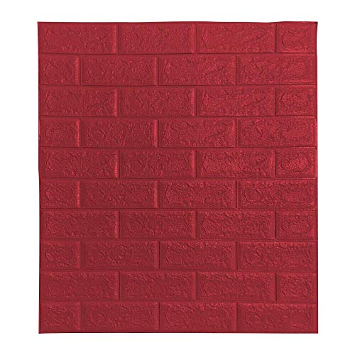 BonChoice 10Pcs 70×77cm 3D DIY Tile Brick Wall Stickers Self-Adhesive Wallpaper Decals PE Foam for Living Room Bedroom Children's Room Boy/Girl (Red)