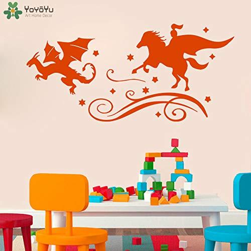 zhuziji Märchen Wandtattoo Für Kinderzimmer Ritter Dragon Chase Wandaufkleber Böse Buch Kunstwand Baby Kindergarten Schlafzimmer Home Deco 182x86 cm