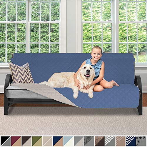 Sofa Shield Original Patent Pending Reversible Futon Protector for Seat Width up to 70 Inch, Furniture Slipcover, 2 Inch Strap, Daybed Couch Slip Cover Throw for Pets, Kids, Futon, Denim Lt Taupe