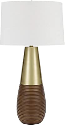 """Catalina Lighting 21753-000 Contemporary Tapered Gourd Table Lamp, 32"""", Champagne Black"""