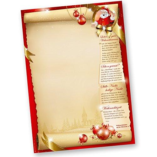 Weihnachtsbriefpapier SANTA CLAUS beidseitig (100 Blatt) mit Gedichten, Infos und Weihnachtsliedern auf der Rückseite