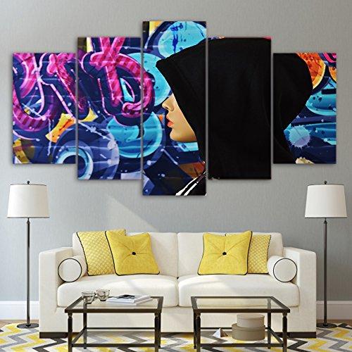 Wall Art foto tela moderno arredamento di casa Soggiorno HD poster stampati 5 pezzi cappa donna misteriosa dipinto graffiti telaio,40x60 40x80 40x100cm,Frame