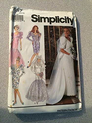 Simplicity 7657 Sewing Pattern, Misses' Petite Bride's and Bridesmaids' Dresses in Two Lengths with Detachable Train, Size N (10-14)