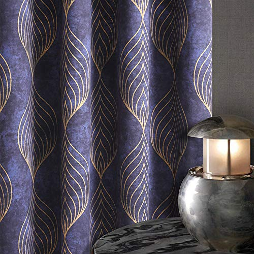 KGORGE Blackout Curtains for Bedroom, Abstract Geometric Pattern Window Curtain Panels Grommets Top Sunlight Block Thermal Insulated Home Decoration , Width 52 x Length 63 inch, 2 Pieces, Navy Blue
