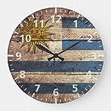 Reloj de pared con diseño de bandera de Uruguay sobre mader