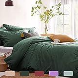 Lanqinglv Bettwäsche 220x240cm Dunkelgrün Grün Microfaser Bettwäscheset Uni Unifarben Doppelbett Bettbezug mit Reißverschluss und 2 Kissenbezüge 80x80 cm - Romantisch und Elegant