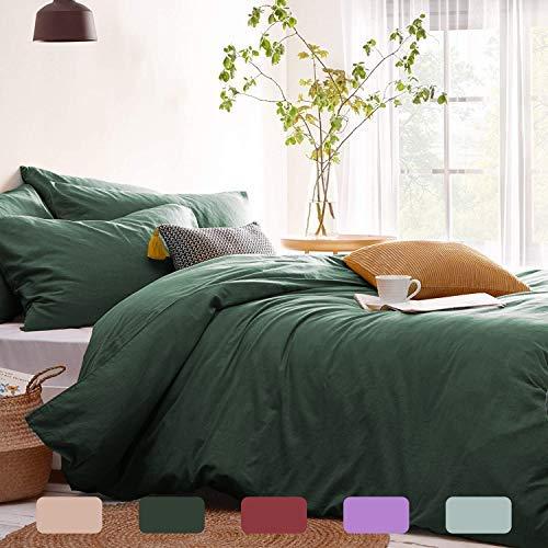 Lanqinglv Bettwäsche 200x220cm Grün Dunkelgrün Microfaser Bettwäscheset Uni Unifarben Doppelbett Bettbezug mit Reißverschluss und 2 Kissenbezüge 80x80 cm - Romantisch und Elegant
