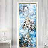 OIODI 3D Etiqueta De Puerta Cielo religioso Jesús hermoso ángel 95x215cm Creativo Autoadhesiva Pegatinas De Pared Calcomanías Puerta interior Vinilo Decoración De Hogar Extraíble Impermeable Adhesiv