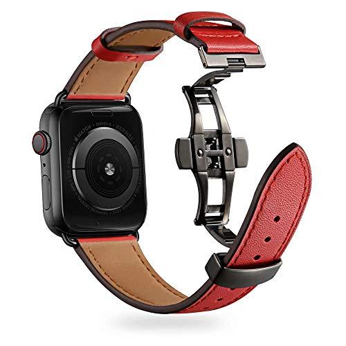 Firsteit Compatible con Apple Watch Band 38 mm, 40 mm, 42 mm, 44 mm, correa de repuesto de piel para iWatch Series 6/5/4/3/2/1/SE (cierre rojo + negro, 38 mm/40 mm)