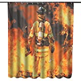 Asdflina Lustige Duschvorhang wasserdichte Polyester-Gewebe Duschvorhang Feuerwehr Design-Badezimmer Haus Dekoration (Farbe : Mehrfarbig, Größe : 150x180cm)