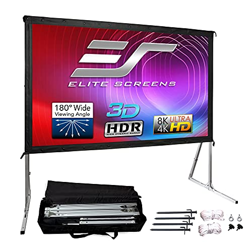 Elite Screens Yard Master 2, 120-inch Outdoor Indoor Projector Screen 16:9, Fast Easy Snap On Set-up Freestanding Portable Movie Foldable Front Projection | OMS120H2 - US Based Company 2-YEAR WARRANTY