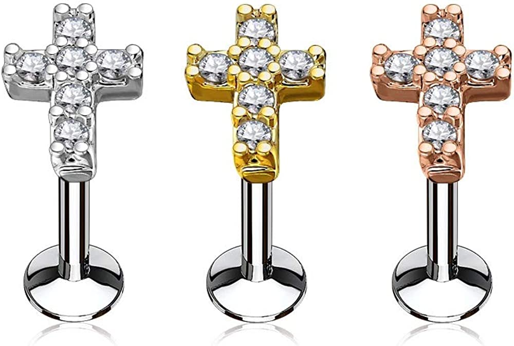 Set of Three (3) 16GA Stainless Steel CZ Crystal Paved Cross Top Internally Threaded Lip Cartilage Studs
