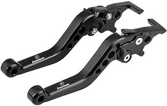 Palanca de freno de disco doble, palanca de embrague de la palanca de embrague de la motocicleta de aleación de aluminio universal Palancas (Negro)
