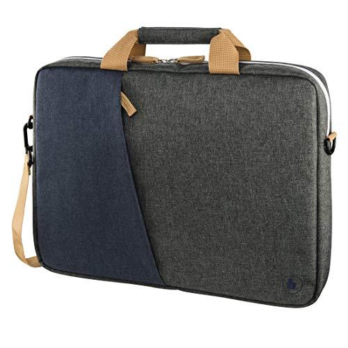 Hama Laptoptasche 40 cm 156 Zoll gepolsterte Umhangetasche mit Tragegurt und Handgriff Schultertasche fur Damen und Herren Aktentasche mit Platz fur Zubehor grau blau
