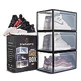 Stackaberg Drop Front Shoe Box - Stackable Clear Plastic Shoe Storage...