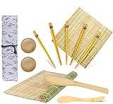 OFUN Kit Sushi in bambù,Sushi Kit 12 Pezzi - 2 Tappetini, 2 Piccolo Piatto, 5 Paia di Bacchette,1 Spatola per Riso, 1 Paletta Riso e 1 Sacchetti di Tela, Guida per Principianti DIY (PDF)
