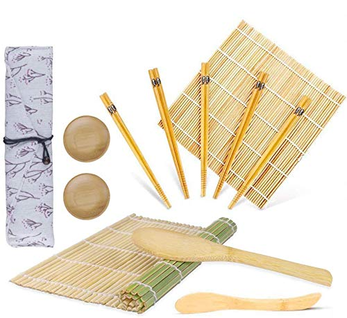 Juego de sushi 12 piezas, OFUN Kit para Hacer Sushi Bambú- 2 x Esterillas, 1 x Paleta de arroz, 1 x Esparcidor de arroz, 5 Pares de Palillos, 2 x Plato Pequeño, 1 x bolsa de lona para palillos