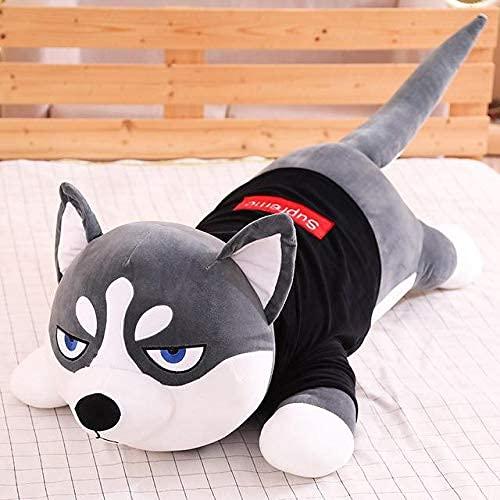XIAN Gästehung Schöne lustige kleidete Husky ausgestopfte Puppe Streifen Pullover weich Husky liegend Plüschspielzeug Hund S Kinder Geburtstagsgeschenk 80cm B hailing (Color : D, Size : 120CM)