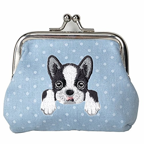 [ BOSTON TERRIER ] Cute Embroidered Puppy Dog Buckle Coin Purse Wallet [ Blue Polka Dots ]