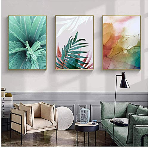 Refosian abstracto acuarela tinta lienzo pinturas planta pared arte nórdico hojas verdes cartel impresión decoración imágenes 60x80 cm / 23,6x31,4 en sin marco