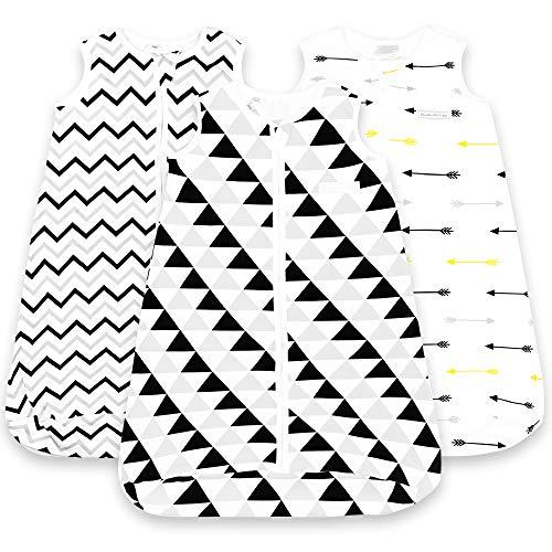 Saco de dormir para bebé - Saco de dormir para bebé de 18 a 24 meses - Paquete de 3 - Manta de algodón puro para llevar al bebé - Unisex con cremallera - Bolsa para dormir - Bolsa transpirable para bebés