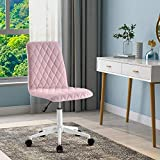ModernLuxe Silla de oficina sin brazos Silla de escritorio de terciopelo ergonómico para el hogar, oficina, dormitorio (rosa)
