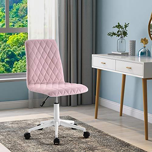 Samt Bürostuhl Schreibtischstuhl Computerstuhl Arbeitsstuhl Drehstuhl Verstellbare Höhe für Wohnung und Büro, Pink